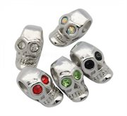 "Led - charms ""Skull"" med rhinstene. Mix. 17 mm. 20 stk."