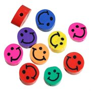 Fimo perler. Smiley - emoji. Mix. 8 mm. 50 stk.